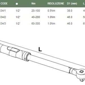 "1/2"" dr. torque wrench FASANO TOP 534/3"