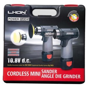 Mini lucidatrice rotativa con disco da 75mm cordless con batteria a Li-Ion M25701138 PowerHand.
